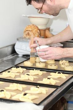 Ed busy with pain aux raisins and pinwheels in the Weekend Bakery