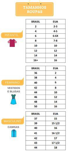 Tamanho de sapato e roupa EUA x Brasil | Disney de Novo