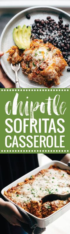 Chipotle Sofritas Tortilla Casserole - easy real food recipe that freezes perfectly. Sofritas tofu, chipotle enchilada sauce, corn tortillas, and cheese!