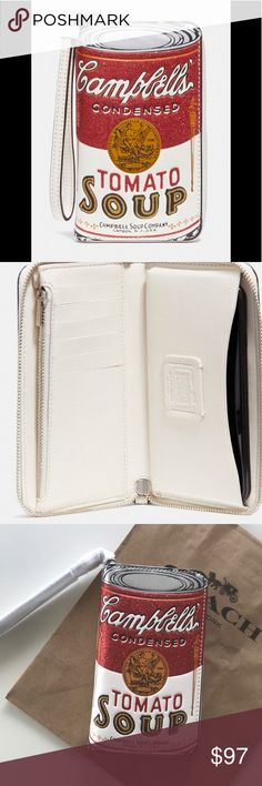 Coach Campbells Leather Phone Wallet This is a must have for the Coach collector.Cool limited edition Campbell's Soup Zip around Phone Wallet.Made out of smooth leather it features six cc slots,zip coin pocket,inside phone compartment and wrist strap.NWT Coach Bags Wallets