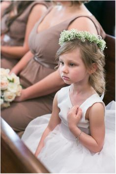 Flower girl with white dress and baby's breath crown | Rachael Hall Photography