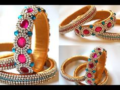 Turn Your Old Bangles Into Latest Slik Thread Bangles.Old Bangles Craft. Thank you all For your like and comments hope you like it too Silk Thread Bangles Design, Silk Thread Necklace, Silk Bangles, Beaded Necklace Patterns, Bridal Bangles, Thread Jewellery, Beaded Jewelry, Handmade Jewelry, Diy Jewelry