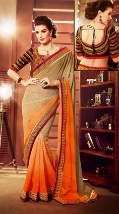 Light Orange And Beige Faux Georgette Resham Work Border Saree