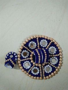 Blue velvet Vagha and pagh with mirror and chakri work Janamashtami Decoration Ideas, Laddu Gopal Dresses, Bal Gopal, Ladoo Gopal, Chiffon Blouses, Kids Frocks Design, Silk Thread Bangles, Fondant Flowers, Frock Design