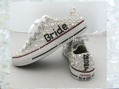 Wedding converse / luxury footwear/ bridesmaid converse / premium range /pearl converse / vintage / delicate / romantic / name converse
