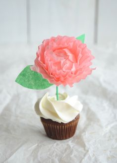 Paper flower cupcake topper Perfect gift for Mother's Day