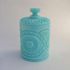 RARE Vintage Massive Fenton Aqua Turquoise Blue Milk Glass Candy Box