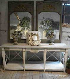 Gustavian table as console table