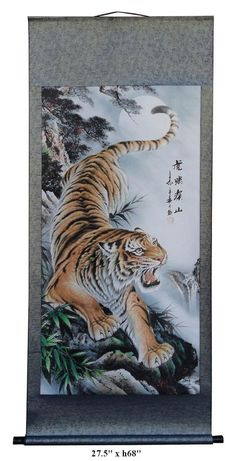 Chinese Handpainted Tiger Roaring in the Deep Mountain Motif Hanging Scroll f299