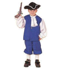 Little Colonial Boy Child Costume - This fantastic costume includes blue shirt, pants, white jabot collar, and colonial style hat.  Musket, socks, and shoes not included.  Shoe buckles sold separately. Medium.