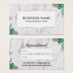 Appointment Card | White Marble Vintage Floral - marble gifts style stylish nature unique personalize