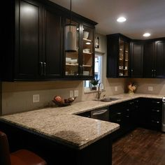 Cabinet color options with tan granite . . . Espresso