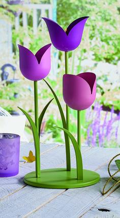 Teelichthalter Tulpen Garten / Porte-bougies à réchaud Tulipes Decoration, Spring, Creative, Plants, Tulips, Candles, Tulips Garden, Decor, Decorations