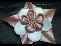 Kanzashi #126 - Como fazer Flor de Cetim - DIY. PAP - Flower / 簪