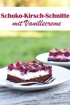 Cherry and chocolate slices. With vanilla cream. Cherry and chocolate slices. With vanilla cream. – Food, cosmetics, cleaning products, etc. Chocolate Slice, Chocolate Wafers, Chocolate Cherry, Chocolate Cream, Chocolate Pastry, Vanilla Custard, Vanilla Cream, Cupcake Recipes, Baking Recipes