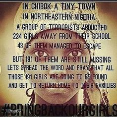 Please pass this support of our bringing back our girls pass the word to our  media's  please and support