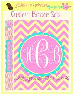 Custom Chevron Monogram Binder Set - 1 Printable Cover Insert and 6 Binder Edges - Digital Printable - Choose Colors and Personalization. $7.00, via Etsy.