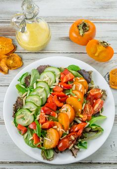 Enjoy this Persimmon Salad with a fresh homemade Persimmon Vinaigrette Dressing all winter long. A delightful mix of greens and bright vegetables. High Protein Salads, Healthy Salads, Lunch Recipes, Salad Recipes, Thm Recipes, Recipes Dinner, Small Food Processor, Food Processor Recipes, Roasted Radishes