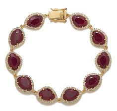 Tracey Bregman Natural & Created Gemstone Sterling Silver Gold Plate Bracelet - Ruby!!!