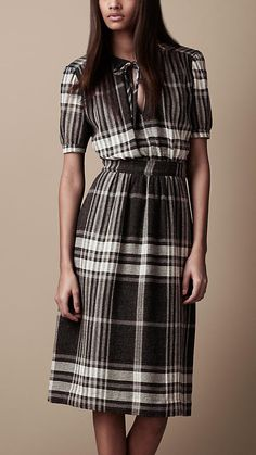 Burberry - CHECK CRÊPE DRESS - love the classic style of this:) (and the length!!!)