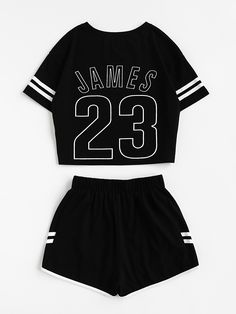 Women's Clothing, Jumpsuits, Rompers & Overalls,Women's Casual Shorts and Crop Top Set - Black - Teen Fashion Outfits, Summer Outfits Women, Girl Outfits, Cute Outfits, Cropped Tops, Jugend Mode Outfits, Crop Top Set, Overalls Women, Rompers Women