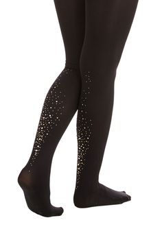 No Shine Like the Present Tights - Black, Rhinestones, Holiday Party, Winter, Black, Sheer, Knit