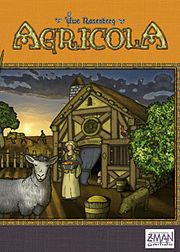 Agricola is a Worker-Placement board game created by Uwe Rosenberg. It's the 2008 Deutscher Spiele Preis Best Family/Adult Game Winner. The goal of the game is to build the most well-balanced farm at the end of 14 rounds, consisting of plowed fields for crops and fenced pastures for livestock.