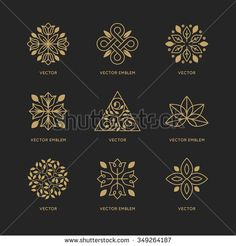 Vector set of logo design templates and emblems in trendy linear style in golden colors on black background - floral and natural cosmetics concepts and alternative medicine symbols - stock vector Medicine Logo, Tea Logo, Cosmetic Logo, Cafe Logo, Emblem, Web Design, Logo Design Template, Golden Color, Natural Cosmetics