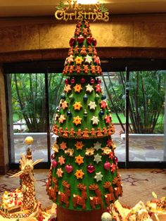 this gingerbread tree says it all merry christmas at denise stang singapore - Mr Christmas Outdoor Decorations