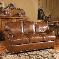 90w x 40d x 38h leather sofa