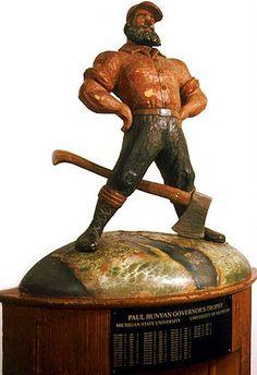 The Paul Bunyan Trophy (to winner of UM-MSU game) Colleges In Michigan, University Of Michigan, Paul Bunyan Trophy, Msu Game, Michigan Wolverines Football, Football Awards, Go Blue, College Football, Just Go