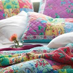 Neela Polka Dot and Floral Print Quilt Big Block Quilts, King Quilt Sets, Dorm Essentials, The Company Store, Cotton Quilts, Quilt Making, Duvet Covers, Bed Pillows, Vibrant Colors