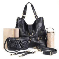 Timi and Leslie Hannah Convertible Diaper Bag in Black