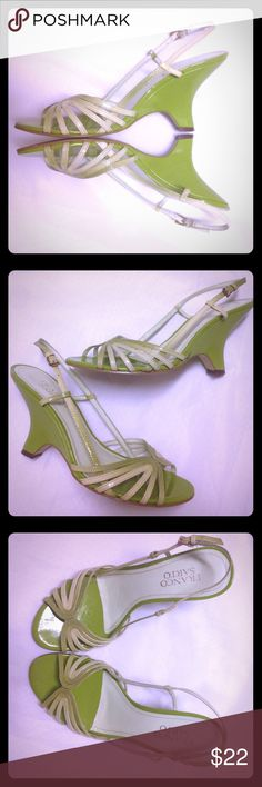 """Franco Sarto Strappy Heels This is a great pair of strappy heeled sandals by Franco Sarto. They are a beautiful shade of lime green with some lighter green straps. They are in good used condition. Lightly worn, but some nicks on the heel which are shown in the last picture. Heel height is approx 3"""". Leather upper. These sandals are perfect for Spring and Summer! Size 6. Franco Sarto Shoes Heels"""