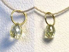 One bead of NATURAL Canary CONFLICT FREE Diamond 18K GOLD PENDANT .28 cts 8798J - Premium Bead