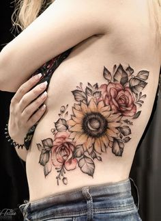 15 Unique Flower Tattoo Design -Rose Tattoo & Sunflower Tattoo - Latest Fashion Trends For Woman - The Effective Pictures We Offer You About snake tattoo A quality picture can tell you many things. Sunflower Tattoo Sleeve, Sunflower Tattoo Shoulder, Sunflower Tattoos, Sunflower Tattoo Design, Flower Tattoo Designs, Flower Tattoos On Shoulder, Watercolor Sunflower Tattoo, Watercolor Tattoos, Abstract Watercolor