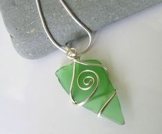 Genuine Beach Glass Necklace, wrapped in sterling silver by Gilded Owl Jewelry