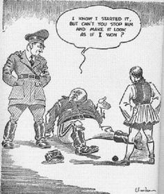 "This cartoon depicts Mussolini being pushed down by a Greek soldier and asing Hitler for help. 28 October 1940 is a day celebrated every year in Greece. It is known as ""Ohi Day"" or ""No Day."" It represents the Greek refusal to surrender to Mussolini in 1940 after he presented an ultimatum."