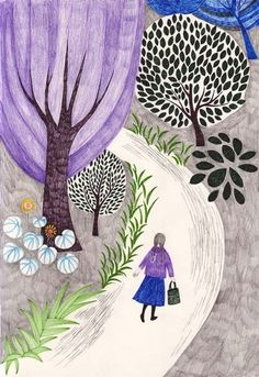 I chose this image of a painting because I feel like the lady in the picture could be Sarah. Sahara is walking along a strange road with gray grass black leaves and purple trees. None of that makes sense. The was her divorce rose doesn't make sense either.