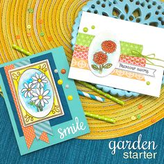 Garden Cards by Jennifer Jackson | Garden Starter Stamp Set & Garden Window Die | Newton's Nook Designs #newtonsnook