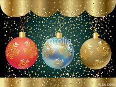 Christmas card with Christmas balls. Glitter Christmas balls with golden snowflakes on festive confetti background. Vector illustration for celebrate Merry Christmas and New Year Holiday.