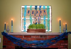 """""""Happy 30"""" tagboard flag bunting banner with glitter makes the perfect garland across the fireplace for 30th birthday party"""