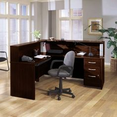 Bush Business Furniture Series C Reception Desk L-Shaped with Mobile Pedestal Hansen Cherry - HCPackageK Home Office Furniture, Furniture Making, Furniture Decor, Furniture Design, Business Furniture, Waiting Room Design, Desk Styling, Modular Office, Home Kitchens