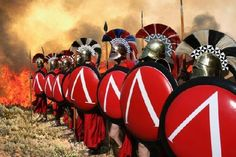 Spartan Warriors lined up for battle