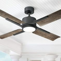 A LED wet ceiling fan featuring a graphite finish DC motor and four matching blades. Style # at Lamps Plus. Living Room Fans, Living Room Ceiling Fan, Ceiling Fan In Kitchen, Bedroom Ceiling Fans, Bedroom Lighting, Contemporary Ceiling Fans, Modern Ceiling Fans, Rustic Ceiling Fans, Farmhouse Ceiling Fans