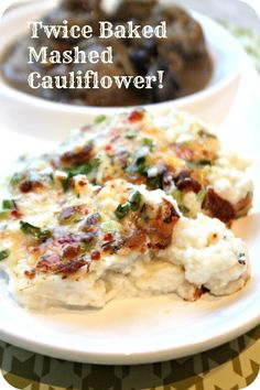 Twice baked mashed cauliflower topped with cheese, bacon and green onions. Another low-carb, grain-free side dish that is sure to impress even the skeptics of clean food! You can make the cauliflower ahead of time so its a great meal for when you have com Healthy Recipes, Clean Eating Recipes, Low Carb Recipes, Healthy Eating, Cooking Recipes, Clean Foods, Eating Clean, Diet Recipes, Recipies