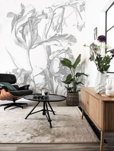 Fototapete Engraved Flowers, x 280 cm Of Wallpaper, Pattern Wallpaper, Amsterdam Wallpaper, Modern Wall Paint, Contemporary Home Decor, Wall Treatments, Decor Interior Design, Wall Design, Wall Murals
