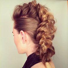 23 Faux Hawk Hairstyles for Women French Braid Mohawk, Mohawk Braid, Faux Hawk Updo, Braided Faux Hawk, Faux Mohawk, Messy Braids, Dutch Braids, Mohawk Hairstyles For Women, Faux Hawk Hairstyles
