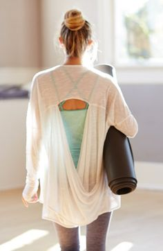In LOVE with this open back cardi!! Zella 'Athena' Open Back Drape Cardigan | Nordstrom
