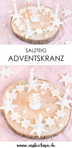Adventskranz aus Salzteig Diy Blog, Diy Weihnachten, Birthday Cake, Christmas Tree, Winter Decorations, Blogging, German, Texture, Christmas Deco